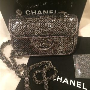 Chanel Classic Hidden Quilted Mini Sequins Flap